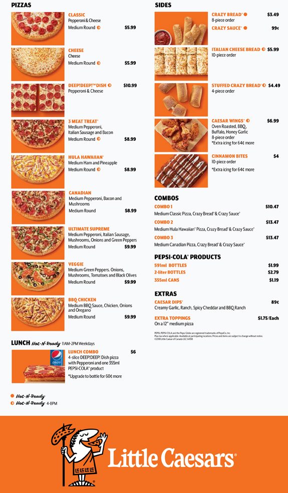 How to Redeem a Coupon Code at Little Caesars Pizza. Little Caesars Pizza offers some menu items fresh and ready to pick up in local stores, but you can also call in your order ahead of time or place an order on the spot. Though you cannot place an order online, you can find promo codes, discounts and special offers that are open in your area.