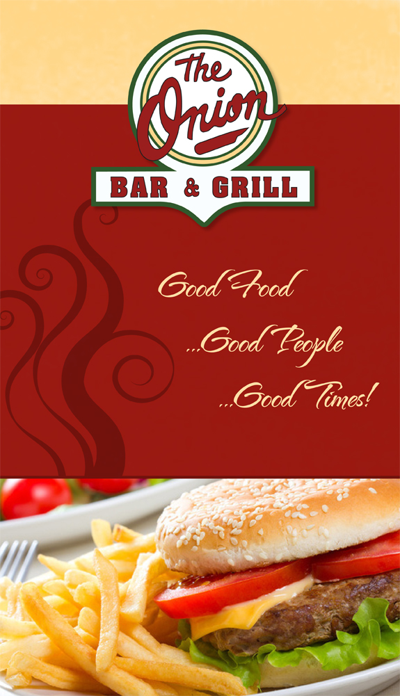 menu cover - Onion Bar and Grill