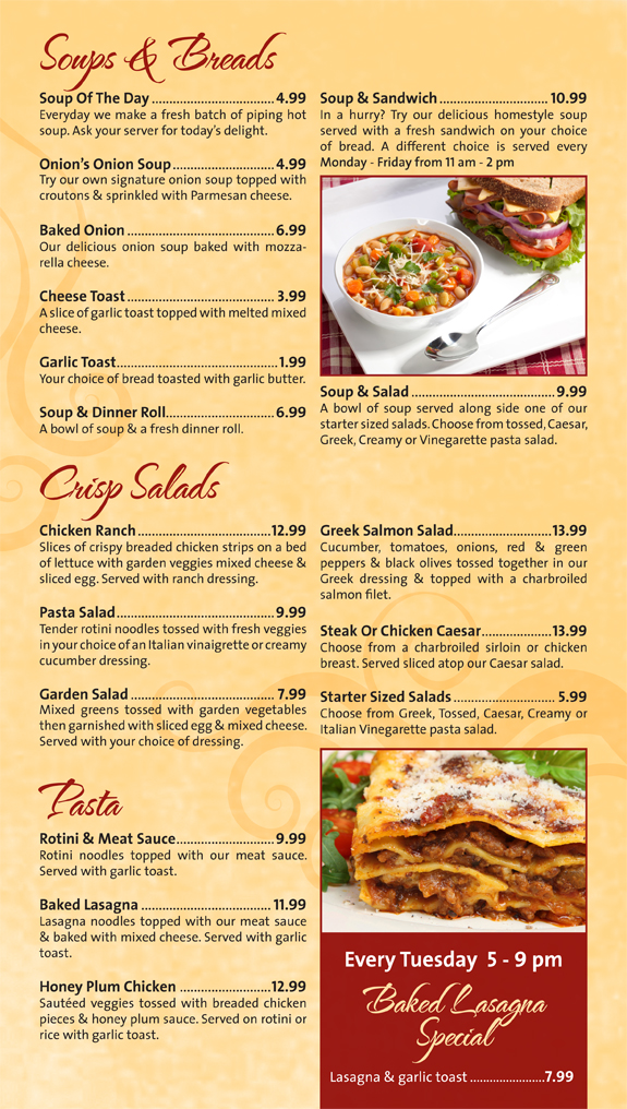 The Onion Bar and Grill menu - soups