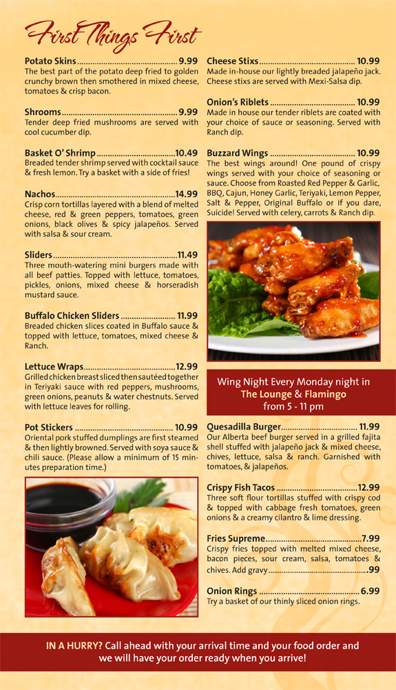 The Onion Bar and Grill menu - appies