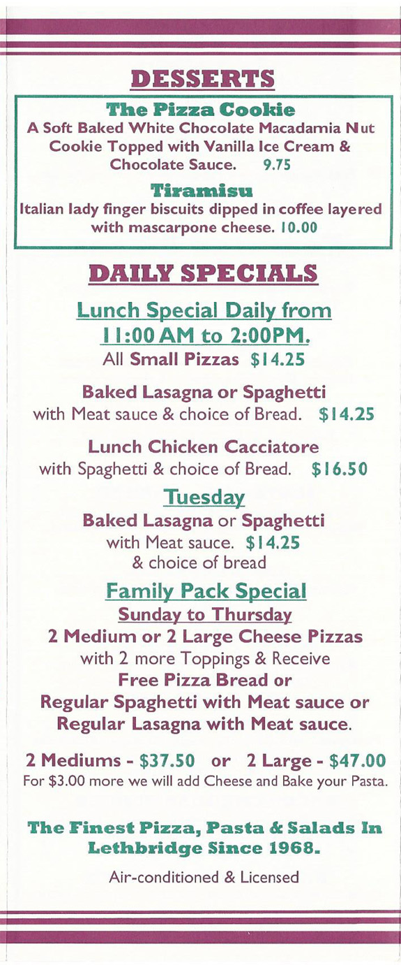 Top Pizza and Spaghetti House Menu